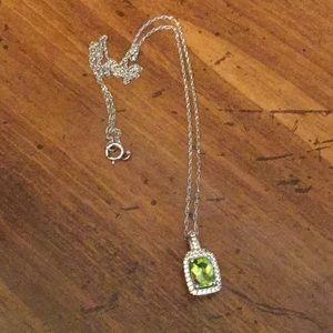 Peridot square necklace